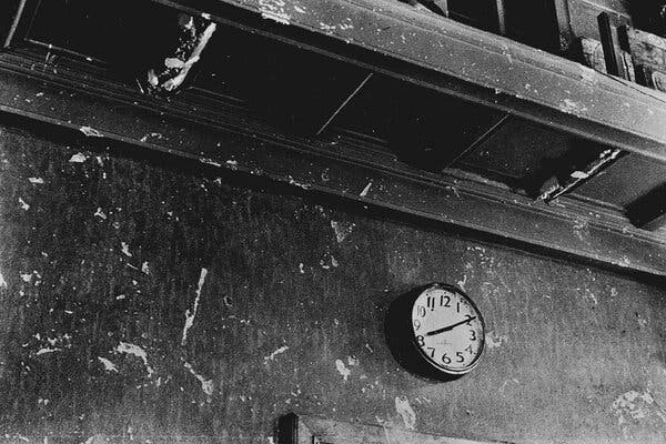 A police station on Sept. 15 in Shimoyanagi-cho, Hiroshima. The clock stopped at the time of the bomb blast.