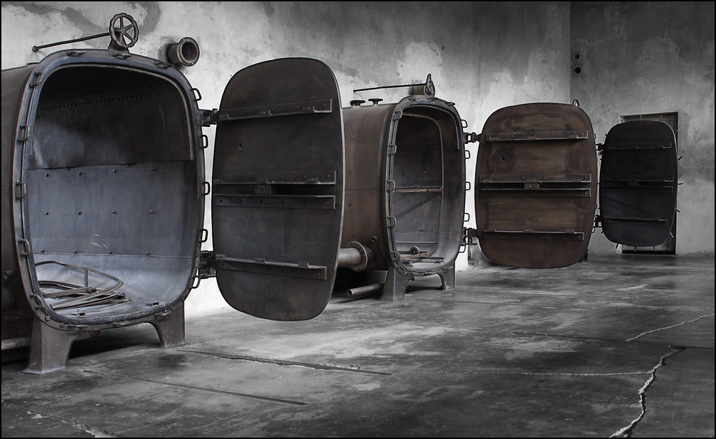 Central Sauna - gas chambers for delousing clothes taken f…   Flickr