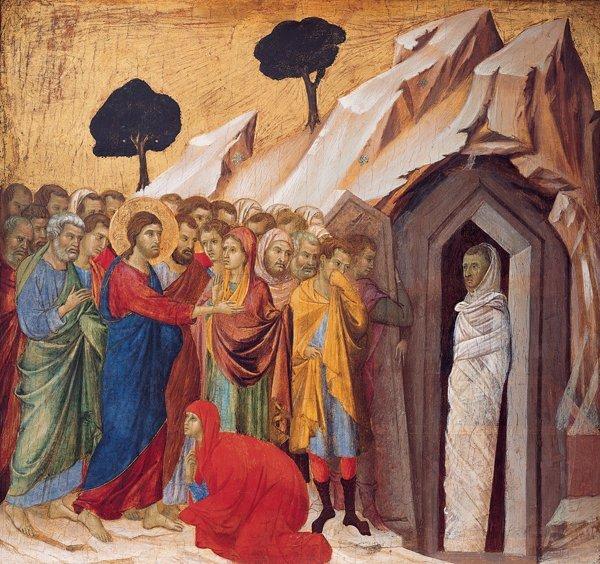 'The_Raising_of_Lazarus',_tempera_and_gold_on_panel_by_Duccio_di_Buoninsegna,_1310–11,_Kimbell_Art_Museum