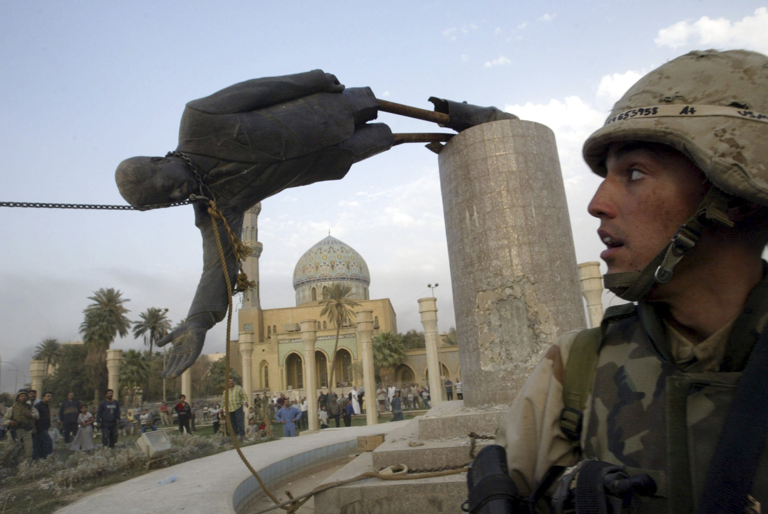 About that toppling of the Saddam Hussein statue in Baghdad ...