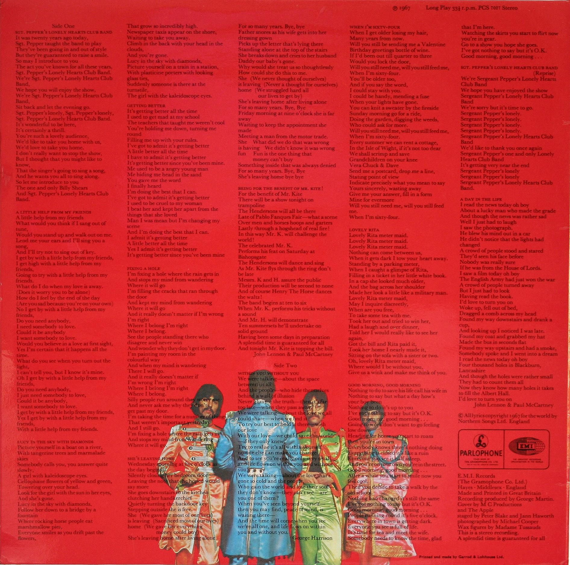 The Beatles - Sgt. Pepper's Lonely Hearts Club Band (1967), back ...