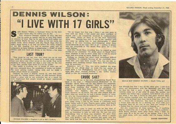 Dennis Wilson (Record Mirror, 1968)