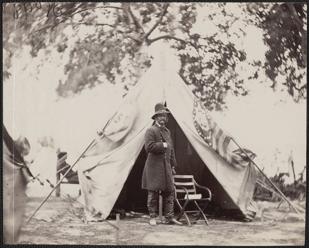 Major General Ambrose E. Burnside at headquarters tent, taken in front of Petersburg General Burnside - Digital Commonwealth