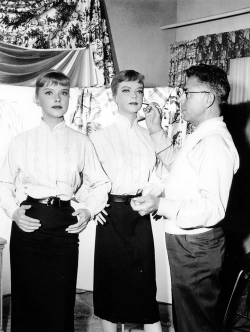 """Anne Francis on the set of The Twilight Zone, """"The After Hours"""" (1960) 