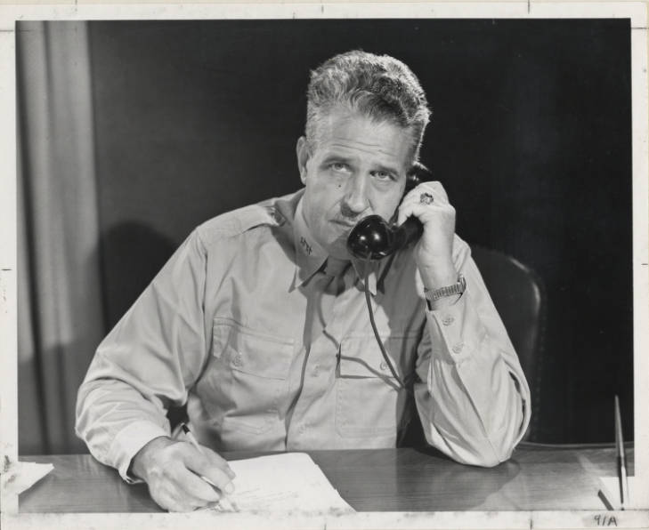 Gen. Leslie Groves on the phone - Photographs - USACE Digital Library