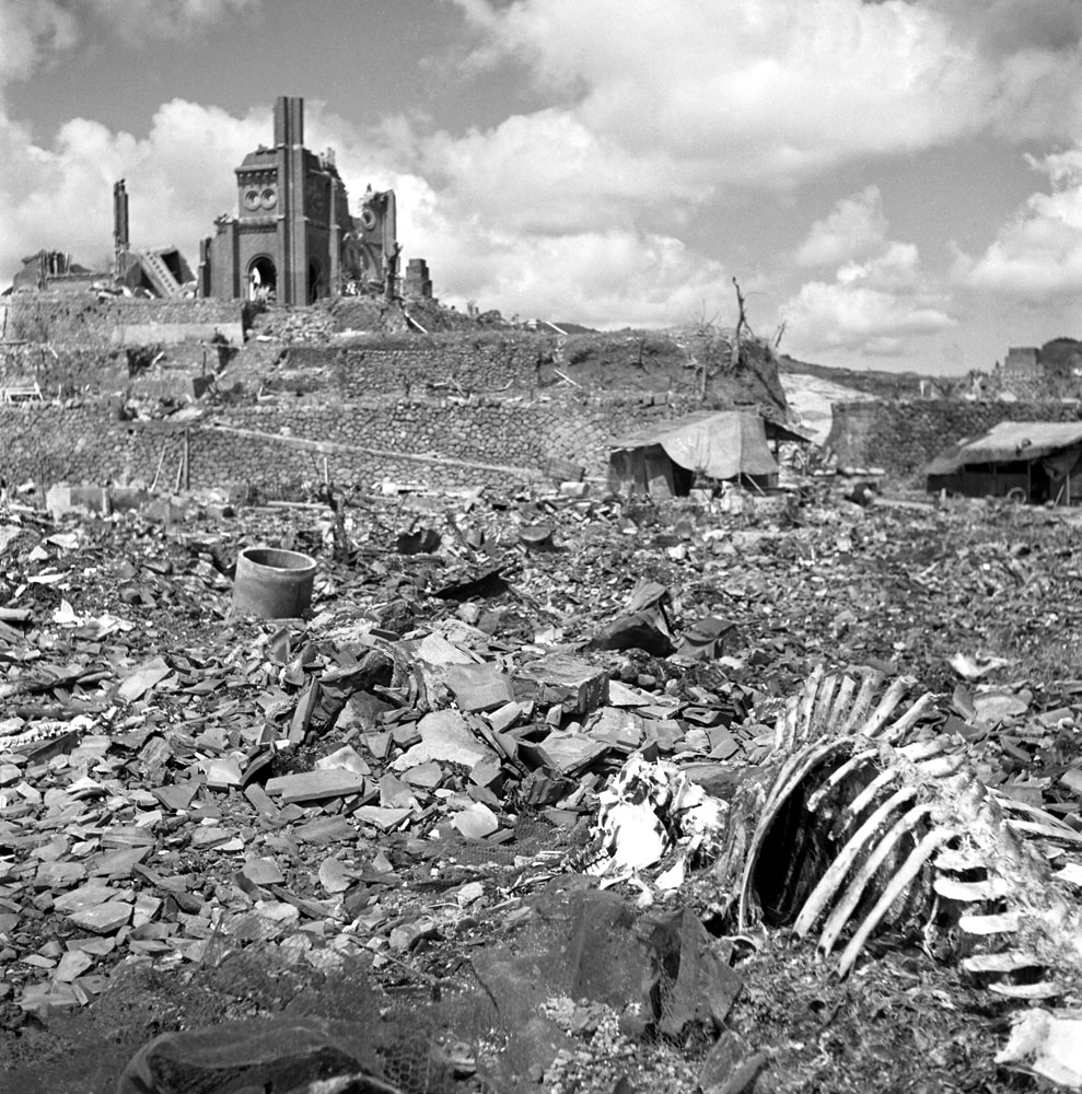The landscape around Urakami Cathedral, Nagasaki, September, 1945.