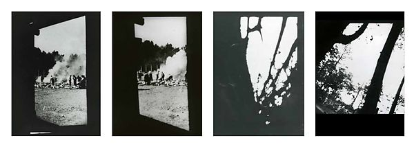 Sonderkommando photographs taken in KL Auschwitz II-Birkenau, Summer 1944 [Negative nos. 277, 278, 282, 283: Burning of corpses in the open air; Women driven to gas chambers; Tree branches]   The Metropolitan Museum of Art